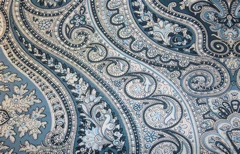 Navy Blue Paisley Upholstery Fabric   Hot Black Blouse