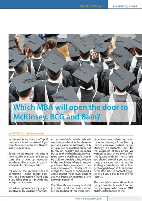 Does Mckinsey Sponsor Mba by Which Mba Will Open The Door To Mckinsey Bcg And Bain