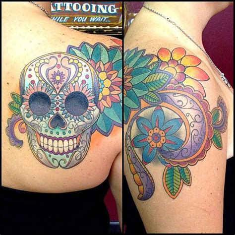 sugar skull couple tattoo finished this sugar skull shoulder a weeks