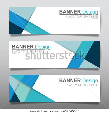 header design simple collection triangle blue horizontal business banner stock
