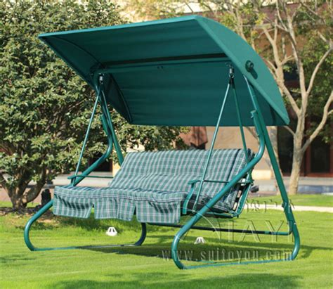 Patio Swing Green 3 Seater Durable Iron Patio Garden Swing Chair Hammock