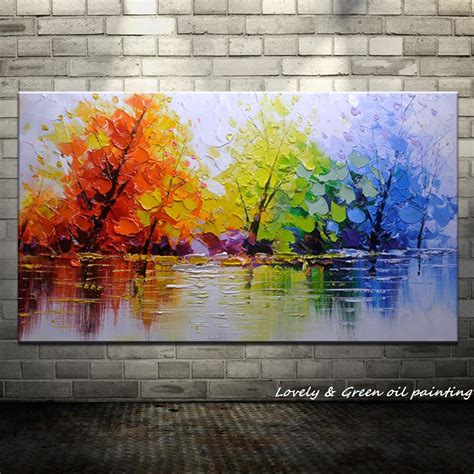 wall painting trees2018 aliexpress buy 100 handpainted color tree knife modern painting on canvas wall decor
