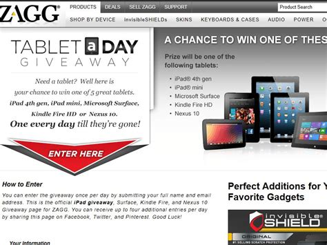 Sweepstakes A Day - zagg tablet a day sweepstakes