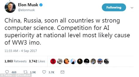 elon musk on ai elon musk claims ai is the most likely cause of ww3
