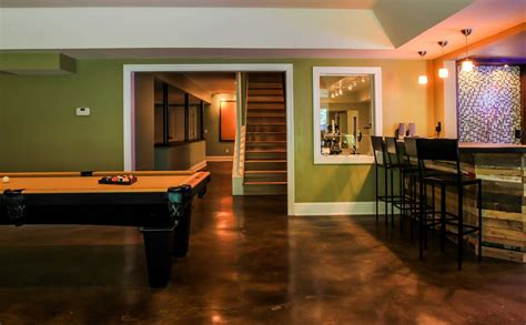 stained concrete floors basement contemporary with pool