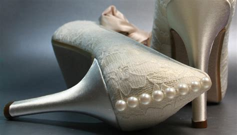 Wedding Shoes With Pearls by Ivory Lace And Satin Wedding Shoes With Pearl Accents