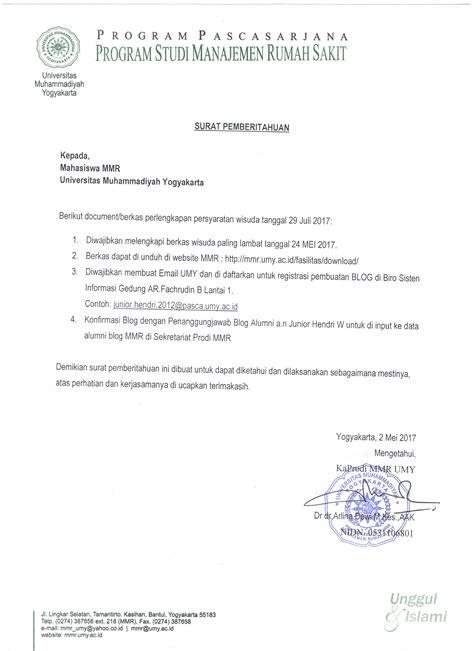 surat pemberitahuan dokumen perlengkapan persyaratan wisuda 29 juli