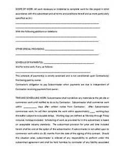 Subcontractor Contract Sle by Subcontractor Agreement Template