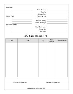 cargo receipt template this cargo receipt for shipments includes quantity gross