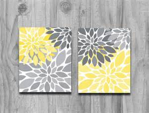 Home Decor Yellow And Gray by Yellow Gray Flower Petals Burst Canvas Or Print Set Home