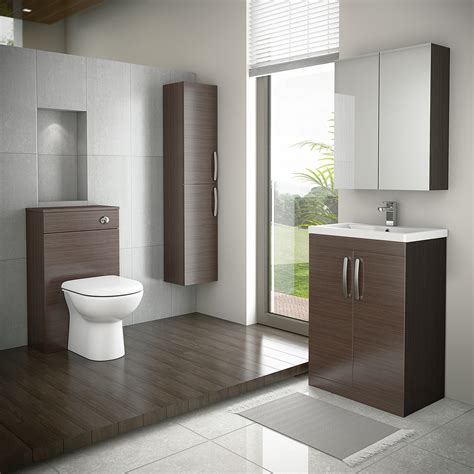Brown Bathroom Furniture Floor Standing 2 Door Vanity Unit Brown Avola