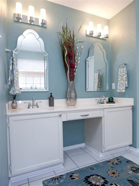 blue bathroom mirror blue bathroom with double vanity and mirrors hgtv