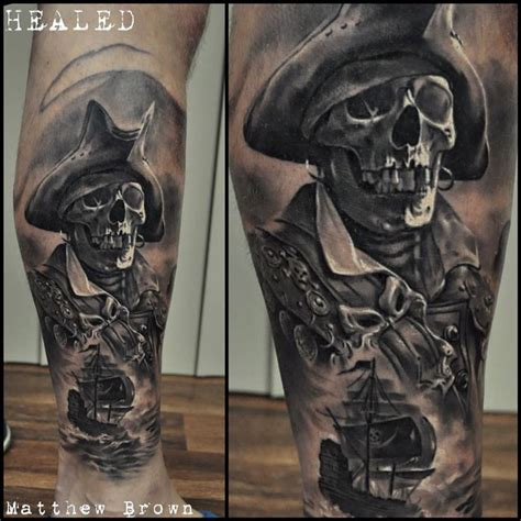 collection of 25 pirate tattoo on right arm of guy