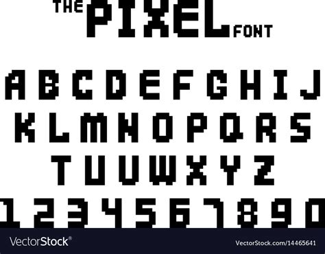 font design game pixel retro font video computer game design 8 bit vector image