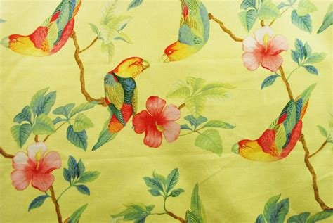 fabric sale yellow tropical birds  flowers home decor
