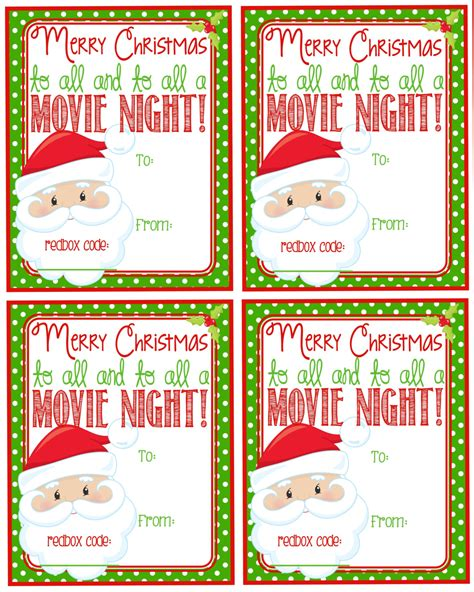 Printable Redbox Gift Tags | printable christmas redbox gift tag merry christmas and to