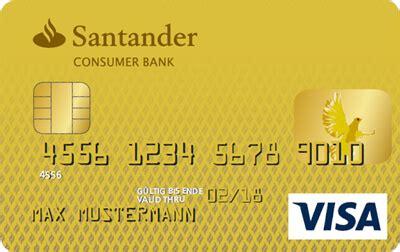santander consumer bank kreditkarte kreditkarte inkl umfangreichem versicherungspaket visa
