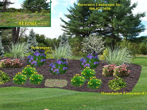 landscape designs for backyard landscape design slope planting bed berkley ma