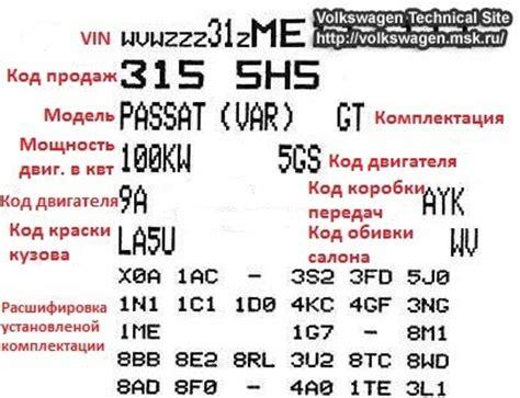 расшифровка vin кодов опций volkswagen и комплект подкраски сколов и царапин бортжурнал