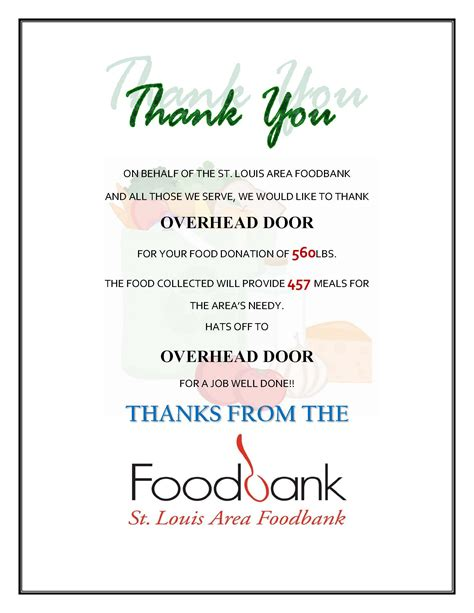 Thank You Letter For Food Drive Donation Because Hunger Is Scary Overhead Door Company Of St Louis