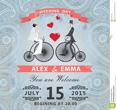 bicycle for two wedding invitations wedding invitation with paisley lace groom in retro