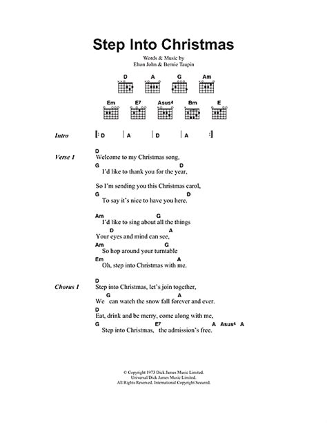 step into christmas sheet music by elton john lyrics