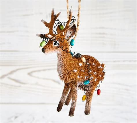 tangled in lights stocking bottle brush reindeer with tangled lights ornament