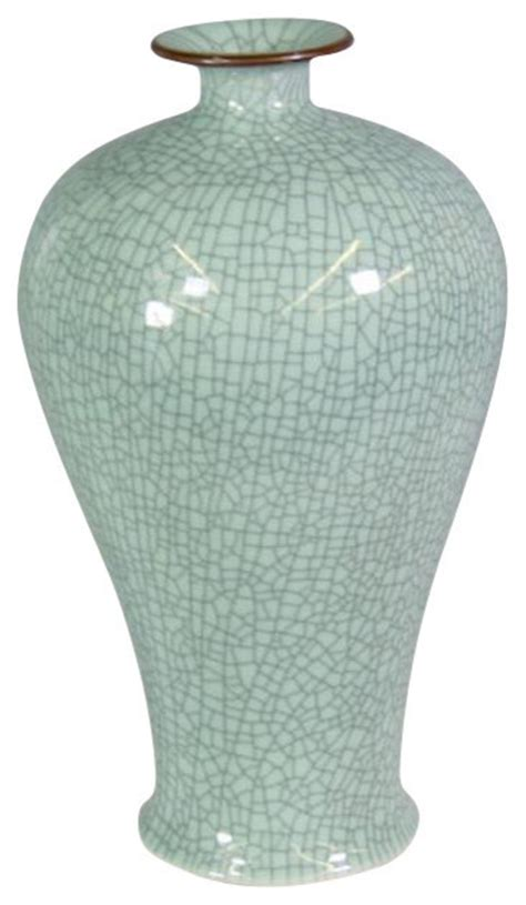 Crackle Vase by Crackle Celadon Prunus Vase With Brown Lip Vases