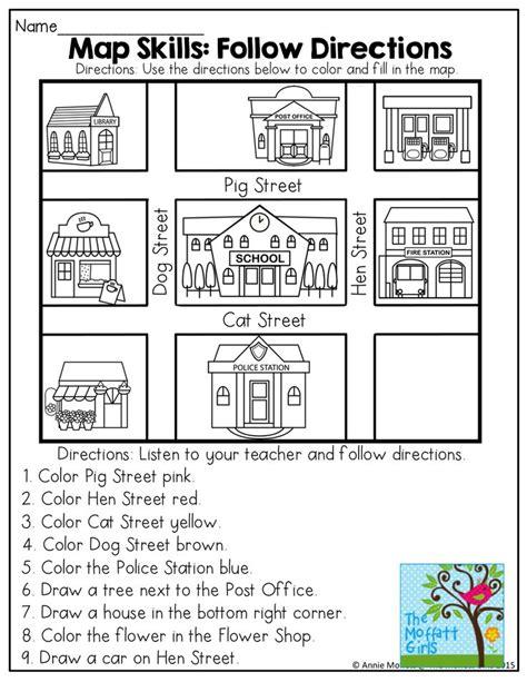 directions activity worksheet april no prep packet kindergarten map skills auditory processing and classroom setup