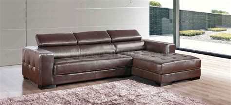 Real Leather Sectional Sofa Brown Genuine Leather Modern Sectional Sofa W Tufted Seats