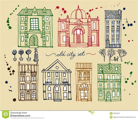 Cute Small House Plans Set Of Old Hand Drawn Vintage Houses Stock Vector Image