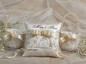 flower basket ring bearer pillow set 2 bowl and