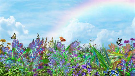 wallpaper flower garden 3d butterflies plants flowers nature 3d art butterflysky