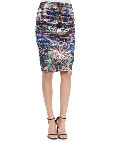 miller ruched floral print pencil skirt in floral