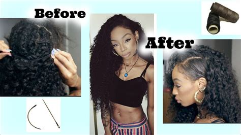 how to sew in one side shaved head how to sew in curly hair fake shaved side style ft
