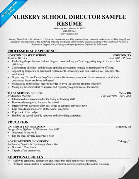 After School Director Sle Resume by Nursery School Director Resume Interviews Resumes