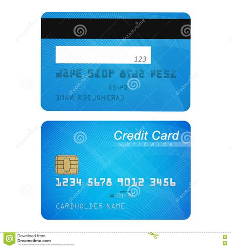 card template with front and back front and back of credit card vector