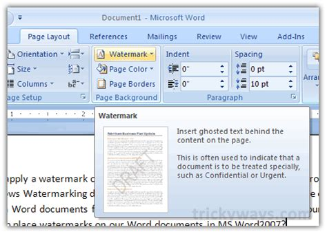 layout options word 2007 how to apply watermark in microsoft word 2010