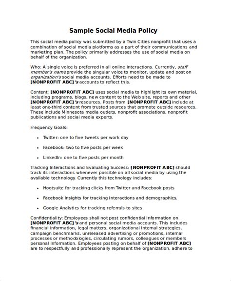 social media policy template policy template 10 free word pdf document downloads