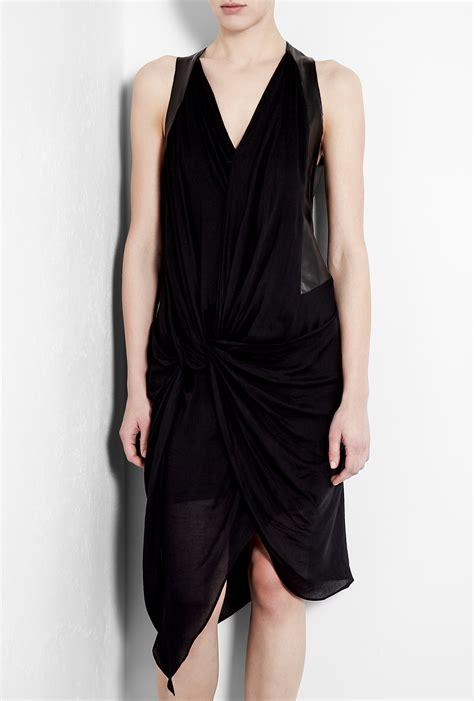 black drape dress helmut lang leather panel drape jersey dress in black lyst