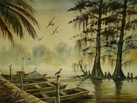 vintage painting louisiana bayou coastal landscape watercolor