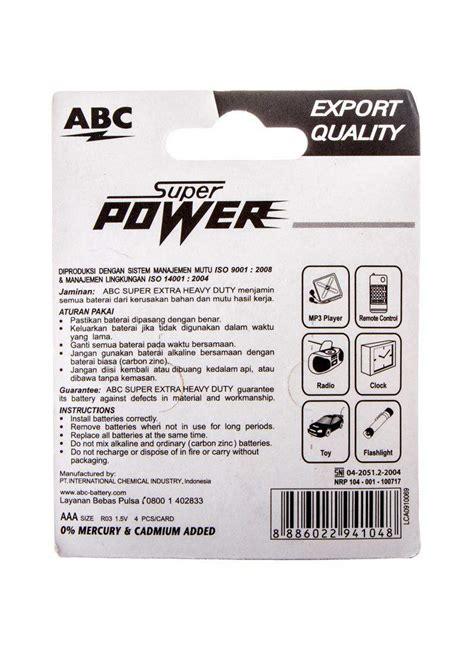 Batere Abc Aaa Power abc battery power aaa r03 pck 4 s klikindomaret