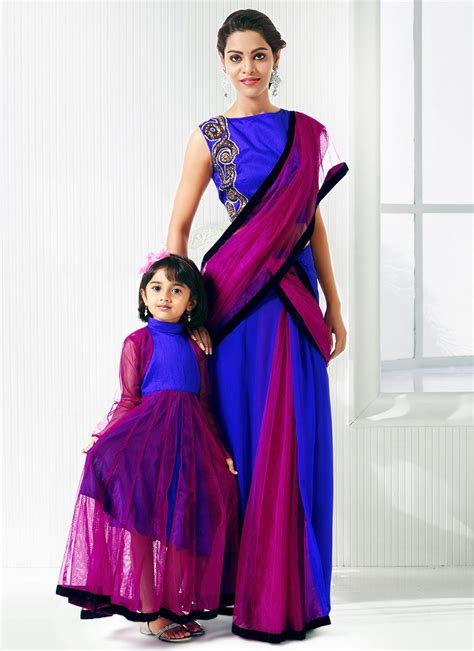 Color Combinations Online mother daughter sarees collection at indiabazaaronline