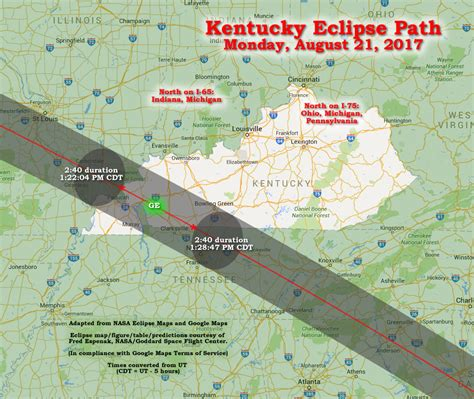 kentucky map eclipse kentucky american eclipse usa