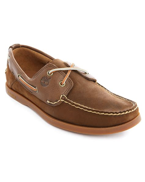 timberland brown leather boat shoes in brown for lyst