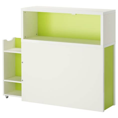 flaxa headboard with storage compartment white green