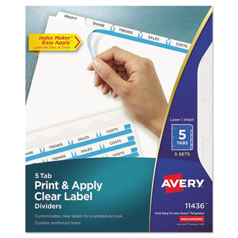 Ave11436 Avery Print Apply Clear Label Dividers W White Ta Zuma Easy Apply Label Strips Template 5 Tab