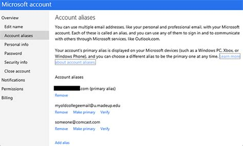 email microsoft account manage primary email address aliases for microsoft account
