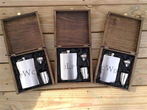 country wedding 8 groomsmen gift flask sets personalized engraved cigar box set of 5 with flask shot glass set