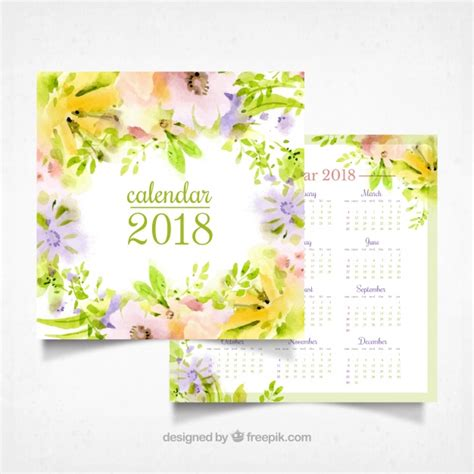 Calendario 2018 Illustrator Watercolor Flowers 2018 Calendar Vector Free